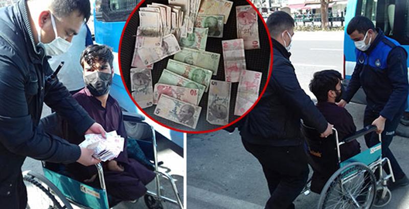 Tekerlekli sandalyede dilenirken yakalandı, üzerinden 380 lira çıktı